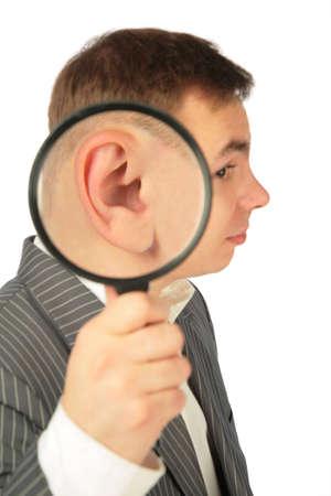 lug: magnifying ear