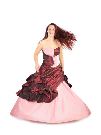 flying hair: Woman in a long pink dress with a flying hair