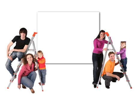 family with steps and wall for text collage photo