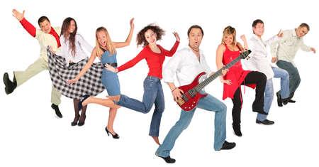 dancing happy people group Stock Photo - 5387571
