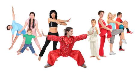 kungfu: sport people group of nine collage