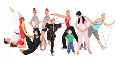 step fitness: sports people group collage Stock Photo
