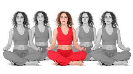 clone: yoga woman with white black clones collage