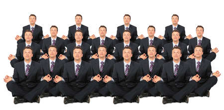 1 and crowd: meditating businessmen crowd collage