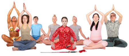 asian bodybuilder: people yoga group collage Stock Photo