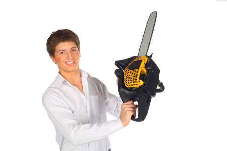 Young man shows chainsaw photo