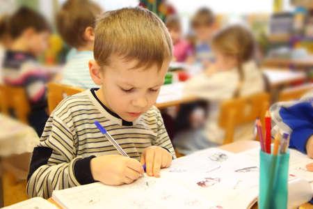 drawing boy: Drawing boy in kindergarten