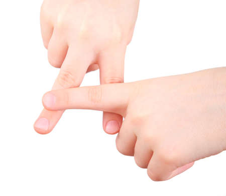 dactylology: childish hands represents letter A from alphabet