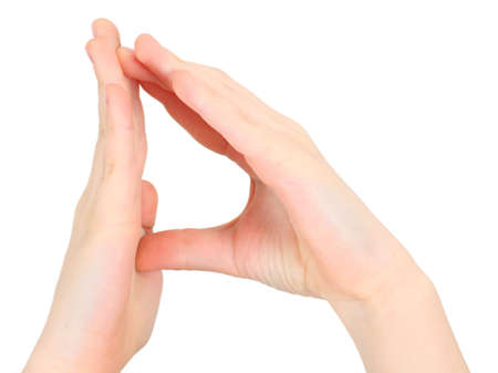 childish hands represents letter D from alphabet  photo