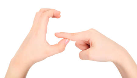 dactylology: childish hands represents letter G from alphabet