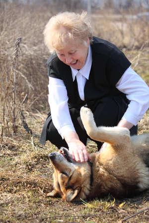 caresses: Elderly woman caresses dog