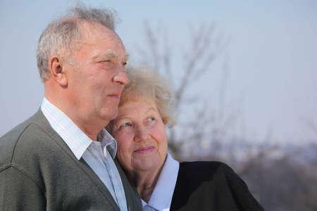 Portrait of elderly couple on spring sky Stock Photo - 5361270
