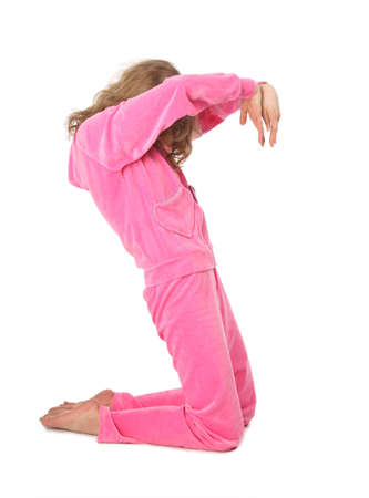 sport clothes: Girl in pink sport clothes represents  letter S