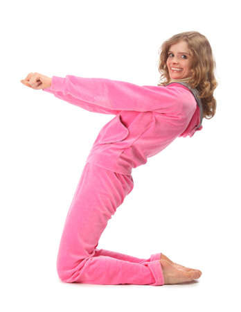 sport clothes: Girl in pink sport clothes represents  letter Z