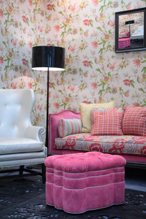 pouf: pink pouf in living room