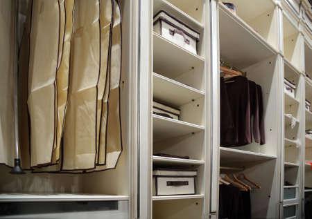 checkroom: Clothes in wardrobe