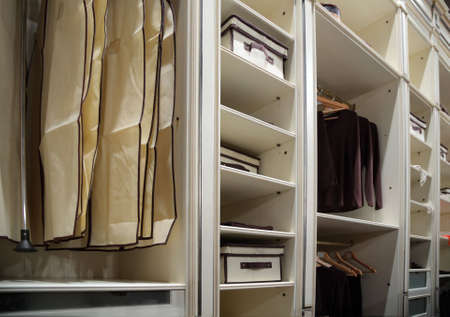 clothes closet: Clothes in wardrobe