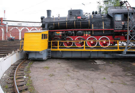 turning table: Steam locomotive in museum by side on turntable