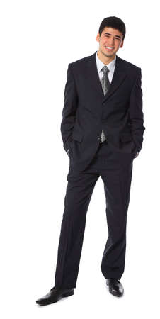 young smiling asian businessman full body
