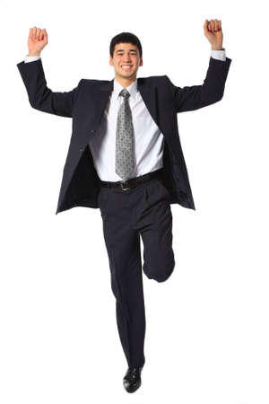 young asian smiling businessman with raised hands Stock Photo - 5367662