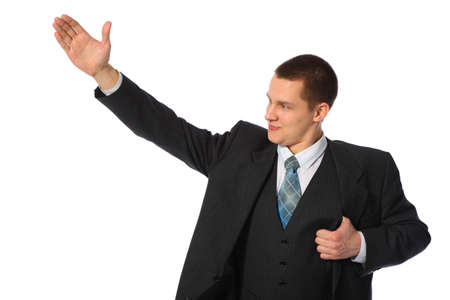 raised hand: young businessman with raised hand
