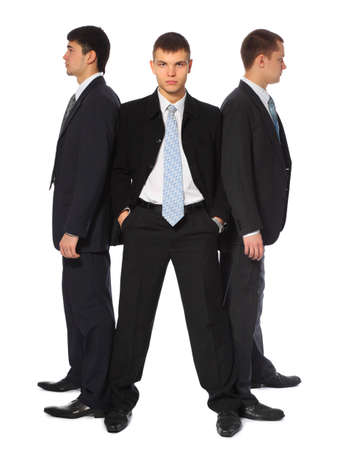 surety: Three young businessmen stand semicircle