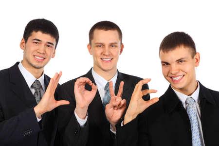 Three businessmen show word love Stock Photo - 5367711