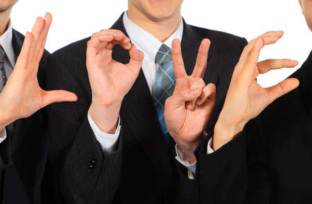 Three businessmen`s hands show  word love Stock Photo - 5367530