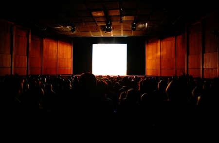 in cinema, focus on screen Stock Photo - 5365645