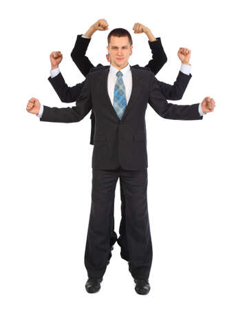 Young businessman with six fists full body photo