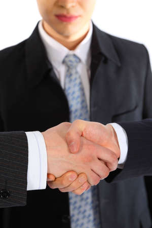 observes: businessman observes handshake Stock Photo