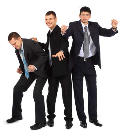 Cheerful three young dancing businessmen photo