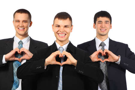 Three young smiling businessmen show love sign by hands  photo