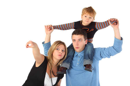 envisage: Mother points, father with son on shoulders