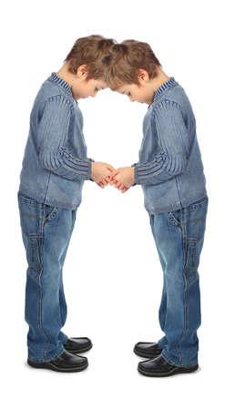 dactylology: boys represent  letter A Stock Photo