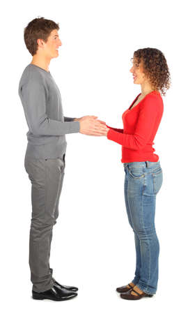 nonverbal communication: young man and woman represents  letter H Stock Photo