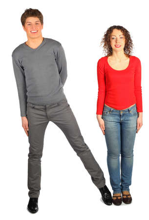 dactylology: young man and woman represents  letter N