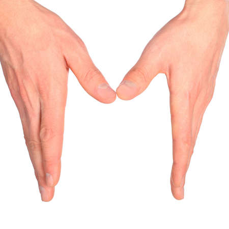 dactylology: hands represents letter M from alphabet