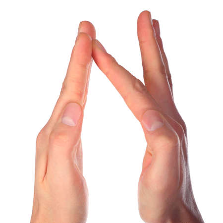 hands represents letter N from alphabet photo