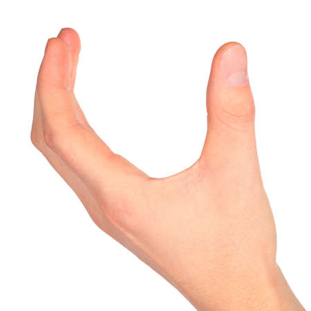 hand represent letter U from alphabet photo