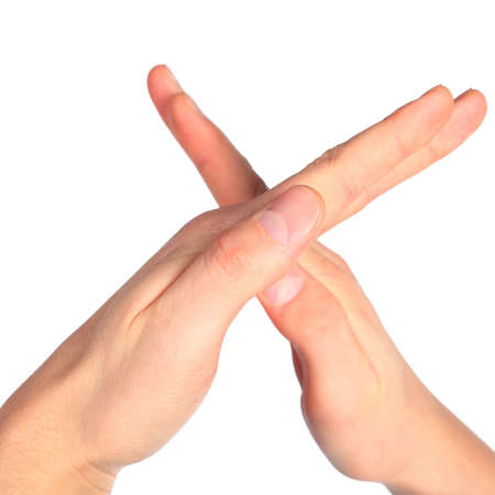 dactylology: hands represents letter X from alphabet