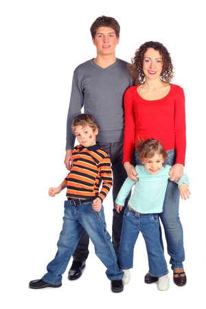happy family of four full body Stock Photo - 5354788