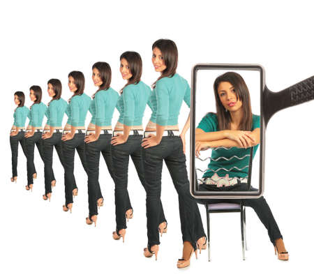 Woman astrides chair, view through magnifier, collage Stock Photo - 5367598