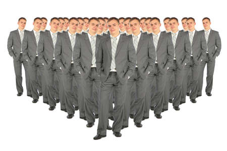 boodle: crowd of business clones collage