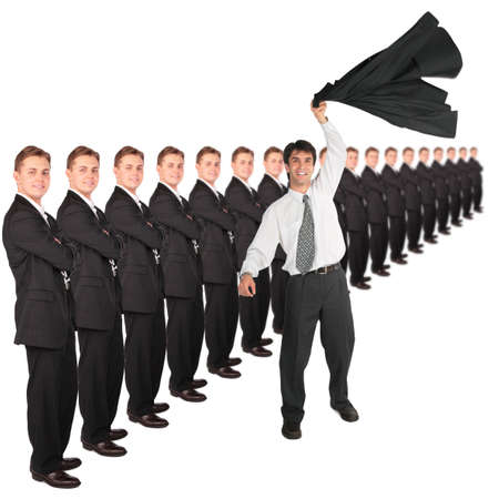 dynamic businessman with hand up with coat and business team collage photo