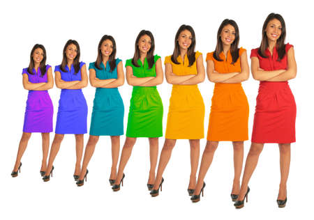 seven persons: Young women with rainbow color dress collage
