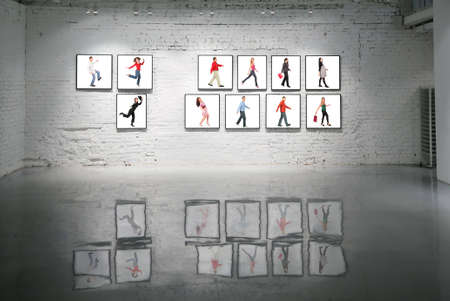 gallerie: frames with walking people on white brick wall and reflections on floor collage Stock Photo