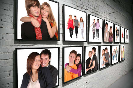 full frame: two rows frames with people on brick white wall collage Stock Photo