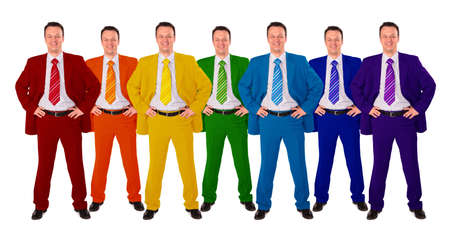 moneymaker: seven same businessmen in different color suits collage
