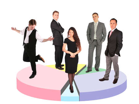 five different businessmen taking diverse position  standing on circle diagram collage  photo